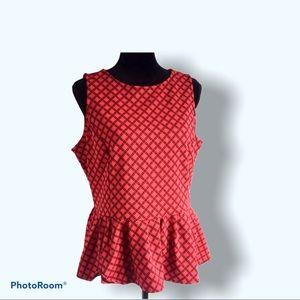 EUC red orange sleeveless Worthington peplum top